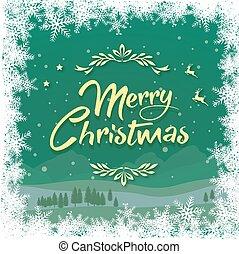 冬, 雪片, 緑の背景, ボーダー, クリスマス