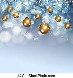 冬, 雪, クリスマス, ボール, 背景