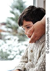 冬, 雪, 窓, 悲しい, 外, 子供