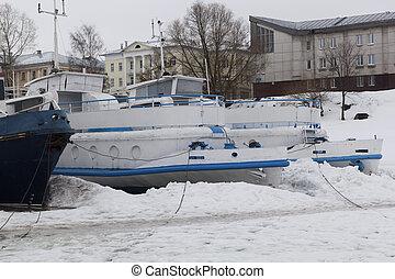 冬, 駐車, ボート, 上に, ∥, 川, vologda, ロシア
