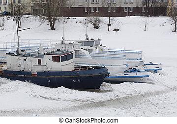 冬, 駐車, ボート, 上に, ∥, 川, vologda