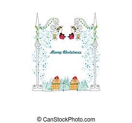 冬, 鳥, カード, クリスマス