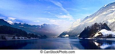 冬, alps., パノラマ, 雪, スイス人, mountain.