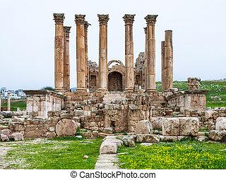冬, artemis, jerash, 前部, 寺院, 光景