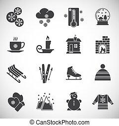 冬, design., ウェブサイト, グラフィック, app., illustration., セット, モビール, 関係した, 網, ∥あるいは∥, アイコン, シンボル, 単純である, 背景, ボタン, インターネット, 概念