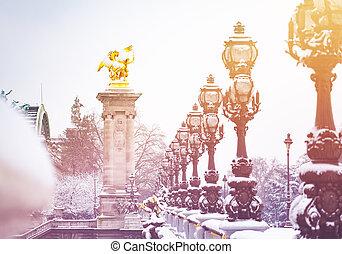 冬, pont, パリ, フランス, iii, alexandre
