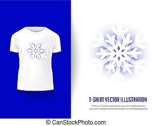 冬, tシャツ, mockup, print., テンプレート, 雪片, clothes., 囲みなさい