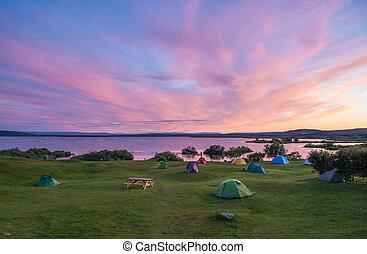 冰岛, 日落, 湖, 北方, myvatn