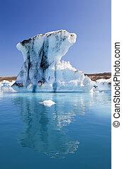 冰岛, 环礁湖, 冰山, 反映, jokulsarlon