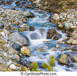 冰川, 小溪, 流動的水