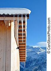 冰柱, 在上, the, 屋顶, 对, 多雪, 阿尔卑斯山脉