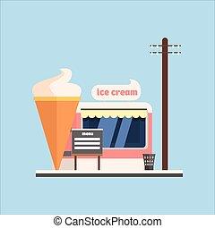 冰淇淋商店, front., 矢量, 插圖