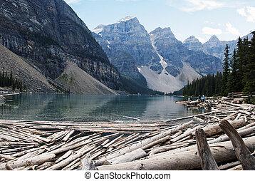 冰碛, 国家公园, 湖, banff