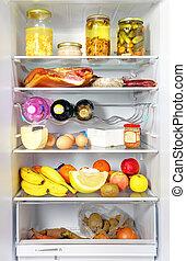 冰箱, 打開, 充分, 以貨物供應, 有負載, 由于, 食物, 以及, 新鮮, ingredients.
