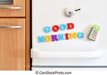 冰箱, 門, 由于, 鮮艷, 正文, 早晨好