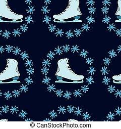 冰鞋, 雪花, seamless