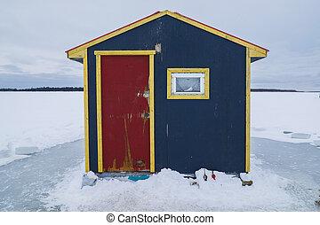 冰, hut., 小, 釣魚