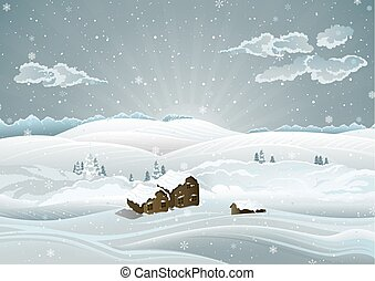 冷ややか, 風景, 日の出, クリスマス