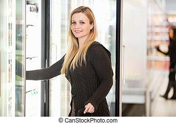 冷却器, 食料雑貨, 女, 店