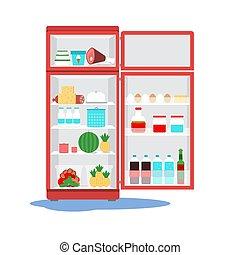 冷蔵庫, ベクトル, 呼出し, 壊される, floor., master., 開いた, illustration., 水