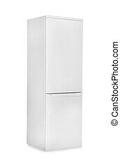 冷蔵庫, 白い背景, 隔離された, 閉じられた