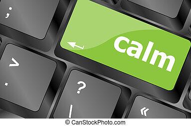 冷静, キー, 上に, コンピュータキーボード, ボタン