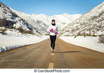 冷, 冬天, 跑, 婦女