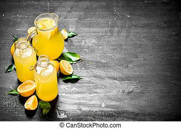 冷, 新鮮, 檸檬水, 由于, 薄片, ......的, 成熟, lemons.