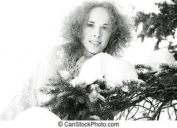 冷, winter., 女性, 在戶外, 肖像