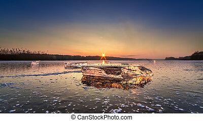 冻结湖, 冰, 令人震惊, 日落, 块