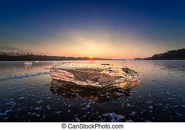 冻结湖, 冰, 日落, 冷, 块