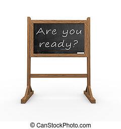 准備好, 你, 黑色, 黑板, 3d