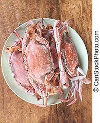 准備好, 蒸, 螃蟹, 海, 吃