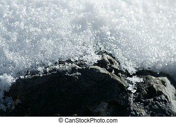 凍らされる, detail., マクロ, 雪, 手ざわり, 白
