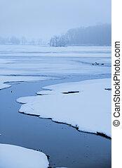 凍らせられた, によって, 湖, 流れ, 流れること