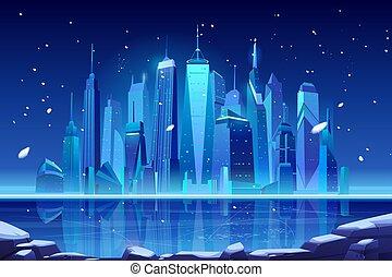 凍らせられた, スカイライン, 冬, 都市, bay., 夜, ネオン
