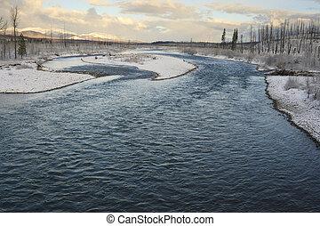 凍らせられた, 国立公園, 氷河, によって, 流れること, 川の景色