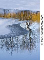 凍らせられた, 川, 冬, lanscape