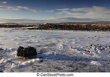 凍らせられた, 景色。, 火山, 光景