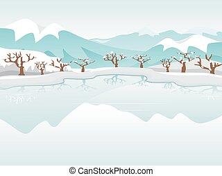 凍結する 湖