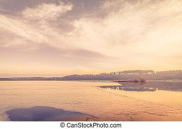 凍結する 湖, 氷, 朝
