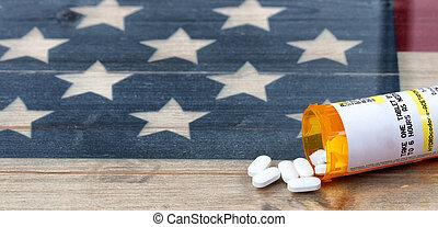 処方せん, アメリカ, opioid, 痛み殺人者, 開いた, 無作法, 背景, びん, 旗, タブレット
