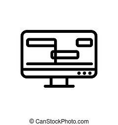 処理, ベクトル, アウトライン, ビデオ, アイコン, イラスト