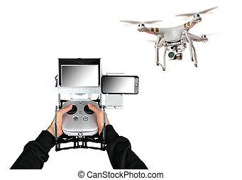 処理, 無人機, 背景, 手, 白, 人