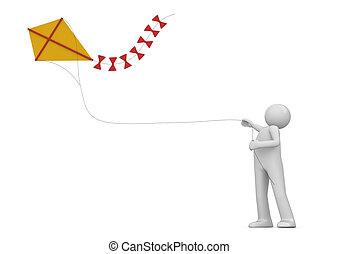 凧, 中に, ∥, 空, 隔離された, -, ライフスタイル, コレクション