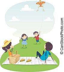 凧, 家族, イラスト, ピクニック, stickman, 飛行