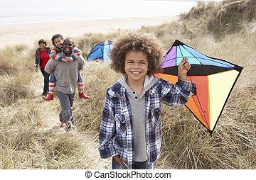 凧, 家族, 砂丘, 砂, 楽しみ, 持つこと