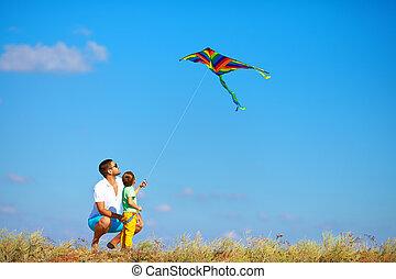 凧, 父, 一緒に, 息子, 楽しみ, 遊び, 持つこと
