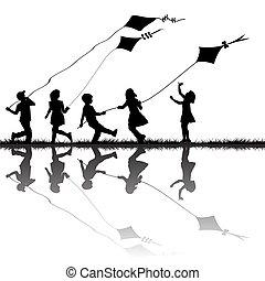 凧, 遊び, シルエット, 屋外, 子供, 飛行