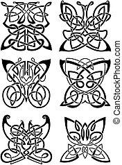 凱爾特語, 紋身, ......的, 黑色, 蝴蝶